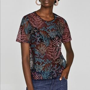 Zara Tulle embroidered shirt Size M